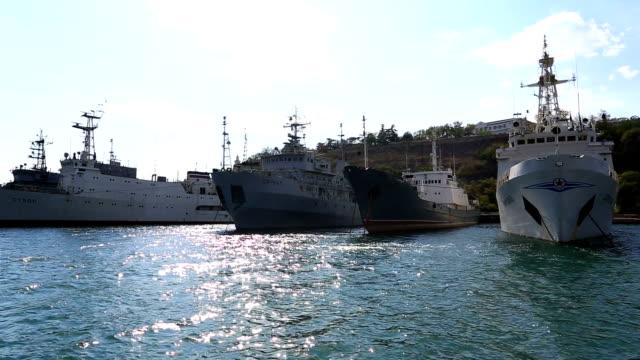 Naval auxiliaries parked in Sevastopol bay, Crimea video