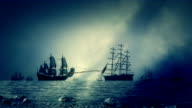 Naval Sea Battle Between Navy Fleets of Sailing Ships Shooting Each Other video