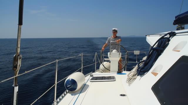 HD: Navigating A Sailboat video