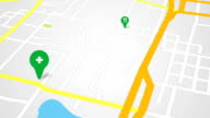 navigation city map and icons animation video