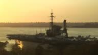 (HD1080i) Navy Aircraft Carrier Deck at Sunset video