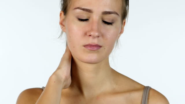 Neck Pain, Close up of Tired Girl, White Background video