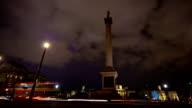 Nelsons Column at night with traffic video