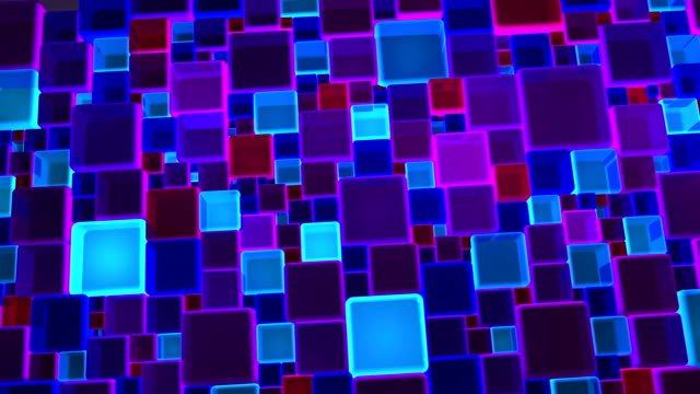 Neon Blue And Violet Lights Cubes Background In 4k video