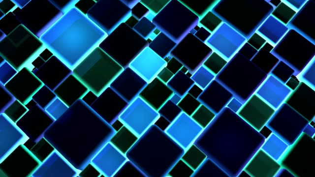 Neon Blue Lights Cubes Background In 4k video