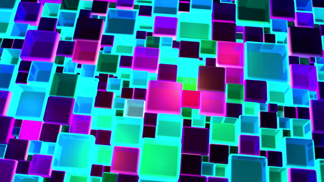 Neon Colorful Lights Cubes Background In 4k video