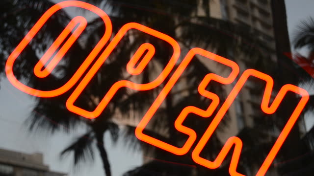 Neon Flashing Open Sign video
