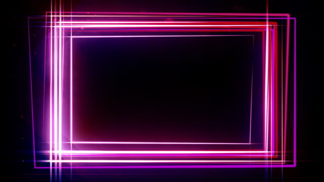Neon rectangle frame HD video