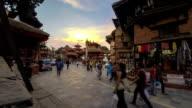 Nepal Kathmandu Durbar Square hi angle time lapse video
