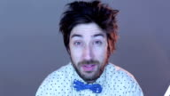 Nerdy guy making faces video