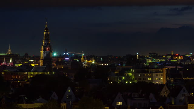 netherlands night life amsterdam city roof top panorama 4k time lapse video