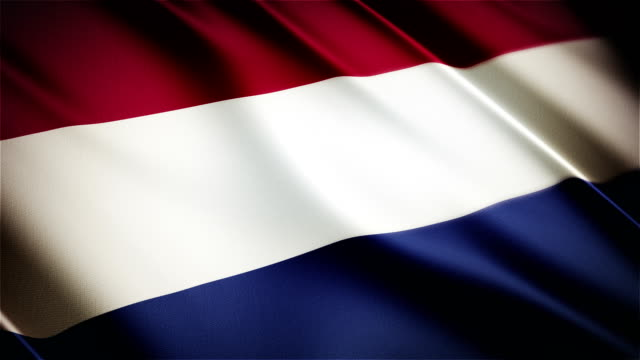 Netherlands realistic national flag seamless looped waving animation video