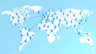 Network growing on the Earth map. Global Business Concept 3d animation. 3 backgrounds (blue, white, black). HD 1080. video