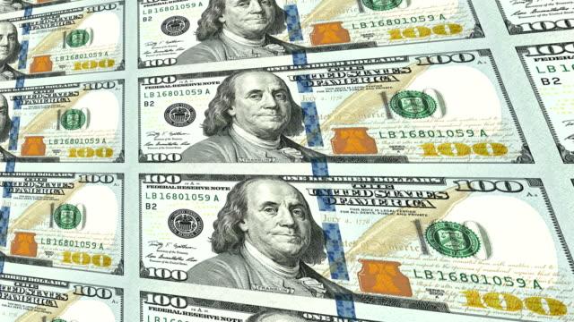 New 100 dollar bills in distance 3d perspective video