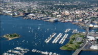 New Bedford Harbour  - Aerial View - Massachusetts,  Bristol County,  United States video