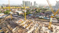 new constructions site in modern city.time lapse video