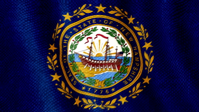New Hampshire flag waving animation video