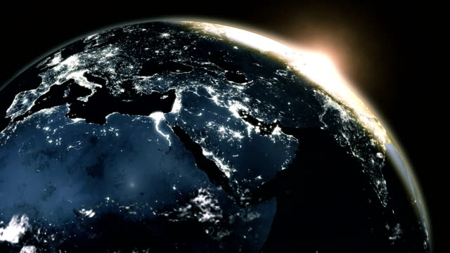 New highly detailed earth in space zone with night time sun world skyline. elements of this image furnished by NASA. video