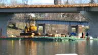 New Highway Overpass Construction Next To Old Bridge video