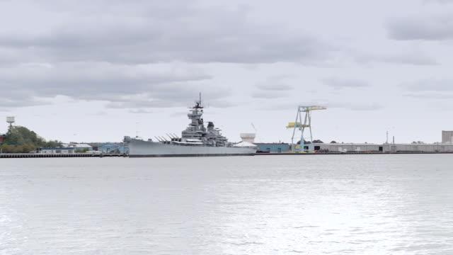 New Jersey shore with battleship seen from Philadelphia video