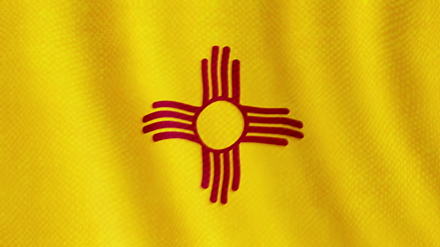 New Mexico flag waving animation video