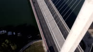 new modern bridge aerial view video