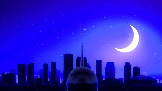 New Orleans Louisiana USA America Airplane Take Off Moon Night Blue Skyline Travel video