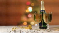 New Year 15 seconds countdown with domino champagne and fireworks video