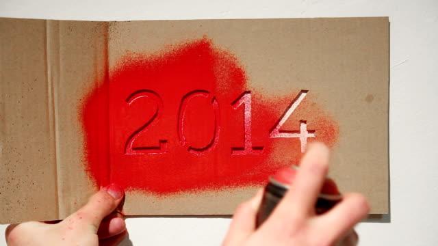 New year 2014 graffiti stencil painting video