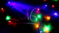 New Year 2016, Christmas Lights, Blackboard video