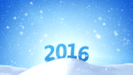 new year 2016 sign in snow drift loopable video