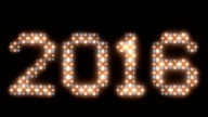 New Year, 2016text, animated lights video