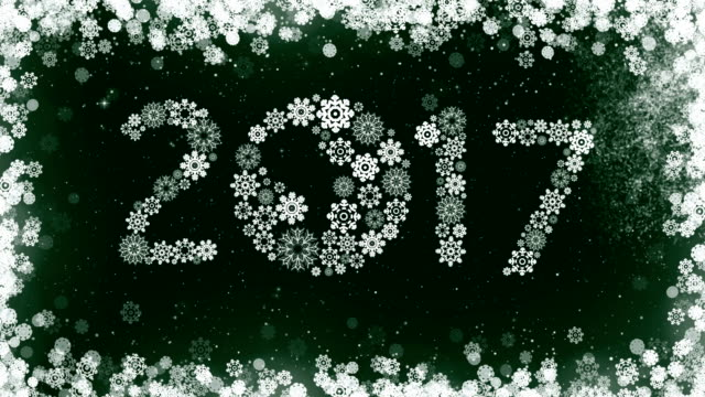 New Year 2017 Greeting Card on Green Background. video