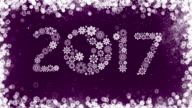 New Year 2017 Greeting Card on Purple Background. video