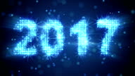 new year 2017 greeting glowing blue particles loop video