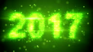 new year 2017 greeting glowing green particles loop video