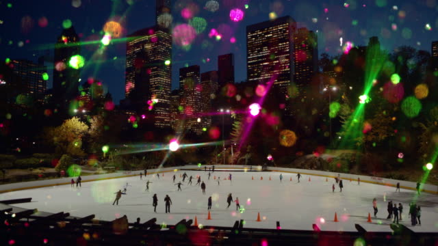New Year and Christmas colored glitter ice skating Central Park video