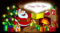 New Year animated card with Santa Claus video
