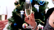 New Year Clinking Champagne Glasses witn Christmass tree video