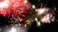 New Year multi fireworks on night sky video