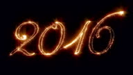 New Year sign 2016, written with fireworks, star glow video