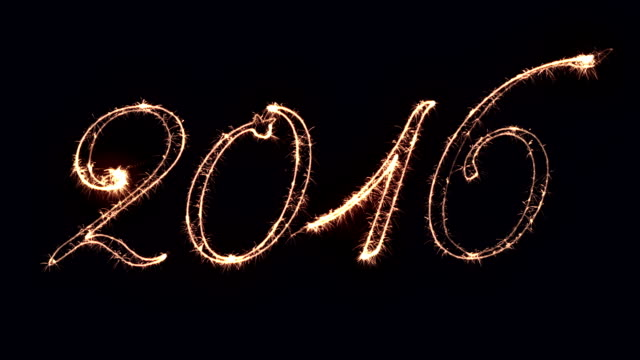 New Year sign 2016, written with fireworks video