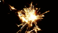 New Year sparks close up video