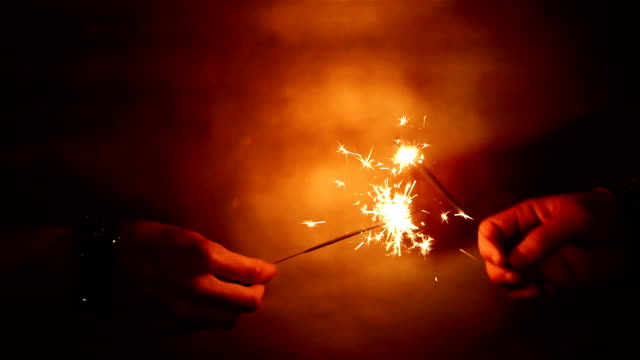 New Year theme, playing with sparklers video