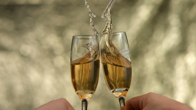 New Year's champagne toast, slow motion video