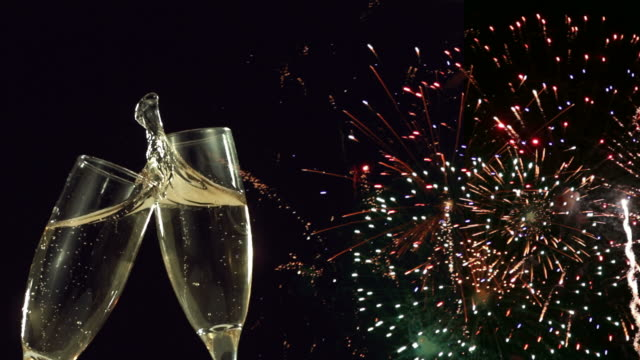 New Years Eve champagne toast and fireworks video