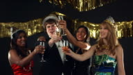 New Year's toast, slow motion video