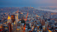 New York City Aerial Skyline at Dusk video