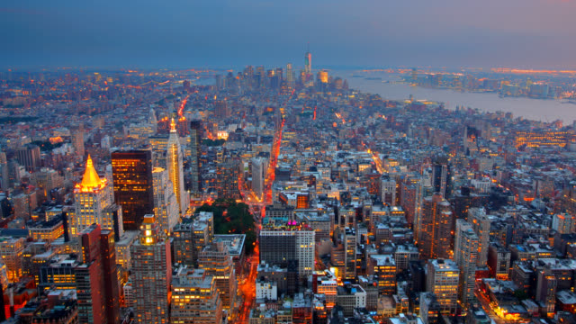 New York City Aerial Skyline at Dusk video