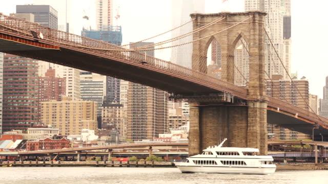 New York City Brooklyn Bridge East River Manhattan Skyline video